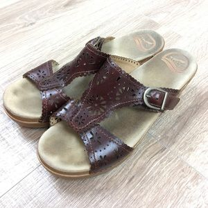 Dansko Laser Cut Buckle Sandal Slides Brown
